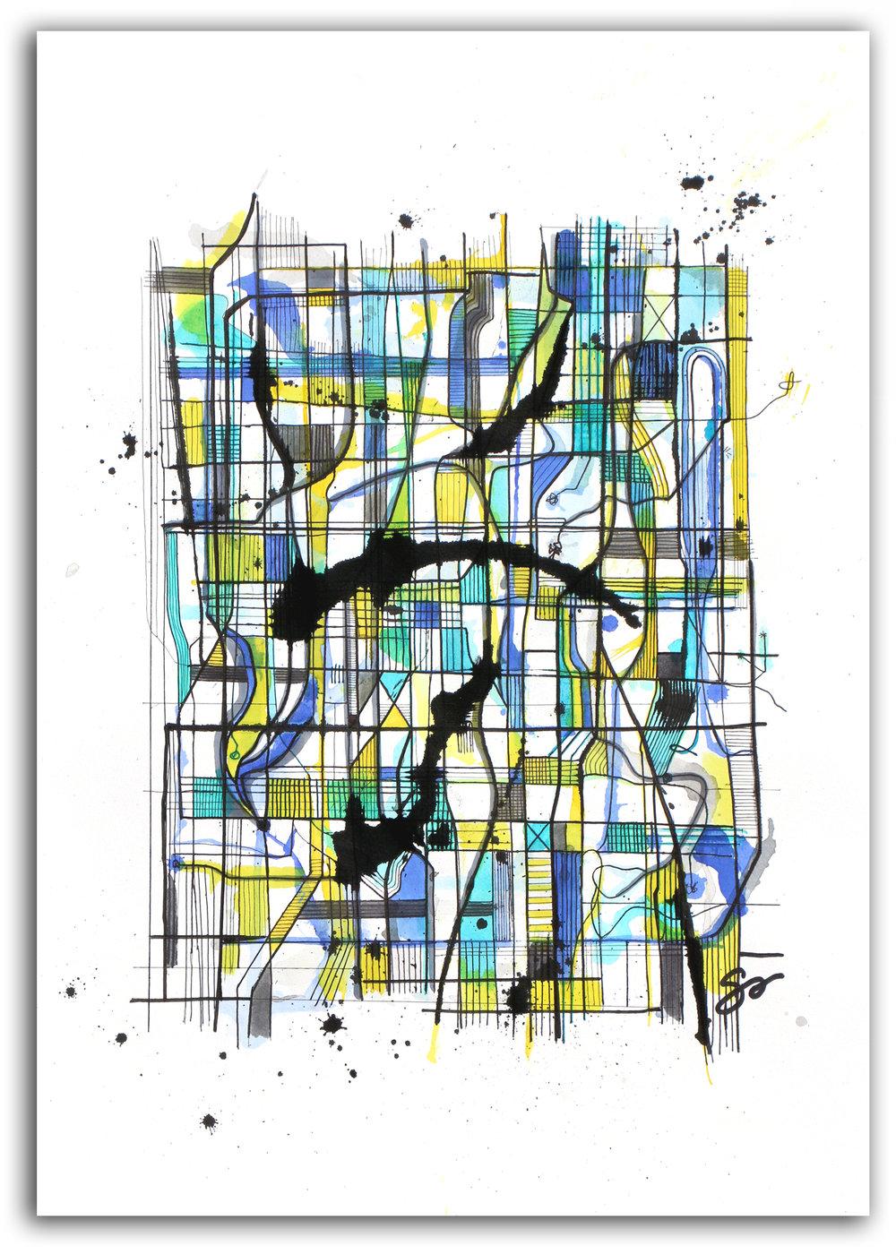 AUROA BOREALIS  Ink + Radiant Watercolor 28″ X 22″