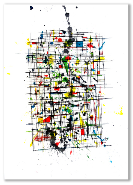 CHAOS CONTAINED  40″ X 29″ Ink
