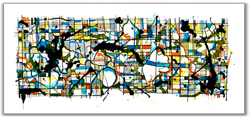 RORSCHACH SWISSE  Ink + Radiant Watercolor 30″ X 60""