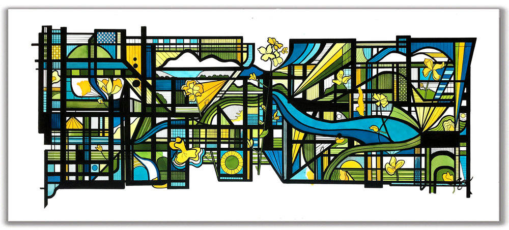"IN BLOOM  30"" x 54"" Ink + Radiant Watercolor"