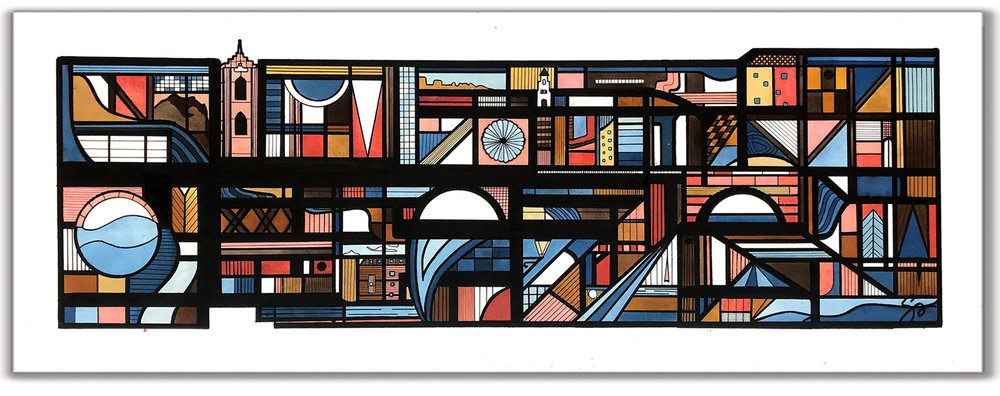 STRASBOURG  16″ x 34″ Ink + Radiant Watercolor