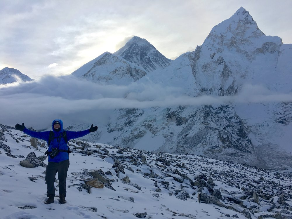 A very cold morning on top of Kala Patthar (18,500 ft) in Nepal.  Mt. Everest is in the center.  April, 2018.  Photo by Mike Maxim.