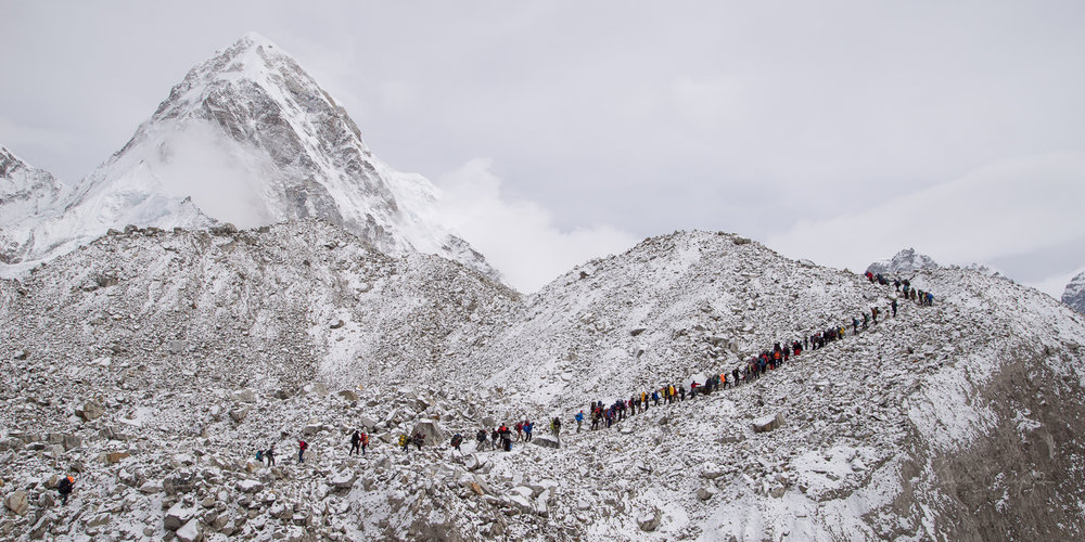 Trekking traffic jam near Base Camp
