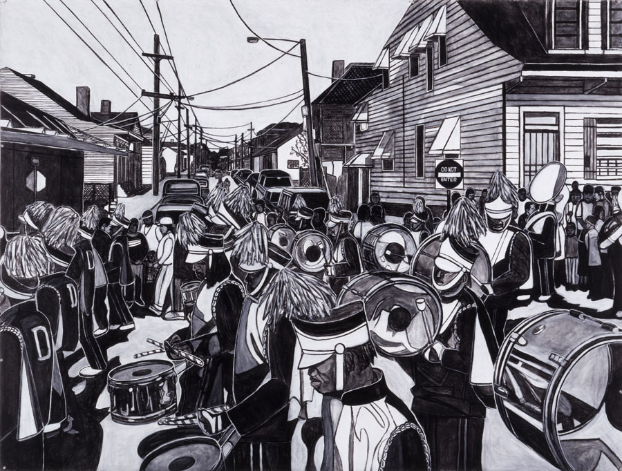 Martin Luther King Day Parade , Willie Birch. Courtesy of  Arthur Roger Gallery