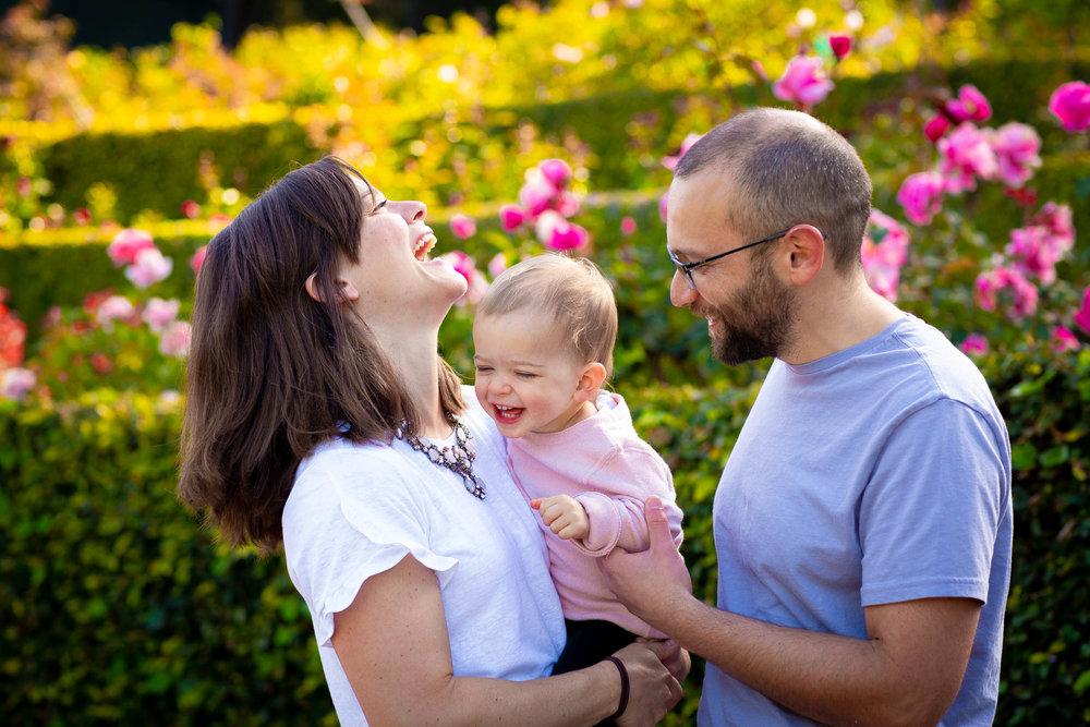 Family having fun at Berkeley Rose Garden