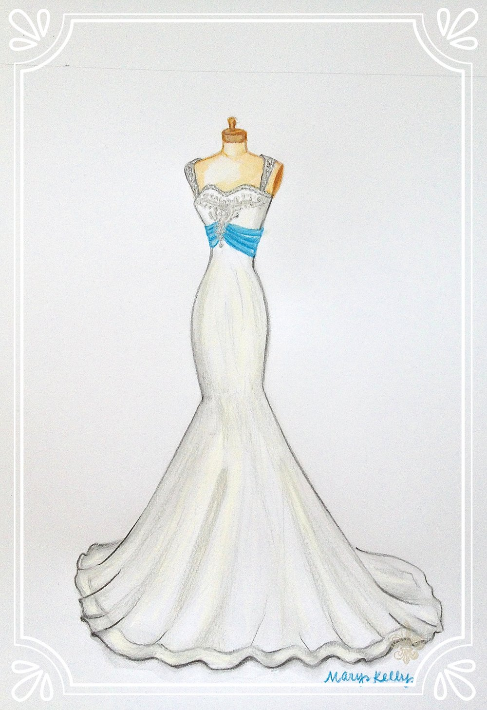 gown with blue sash