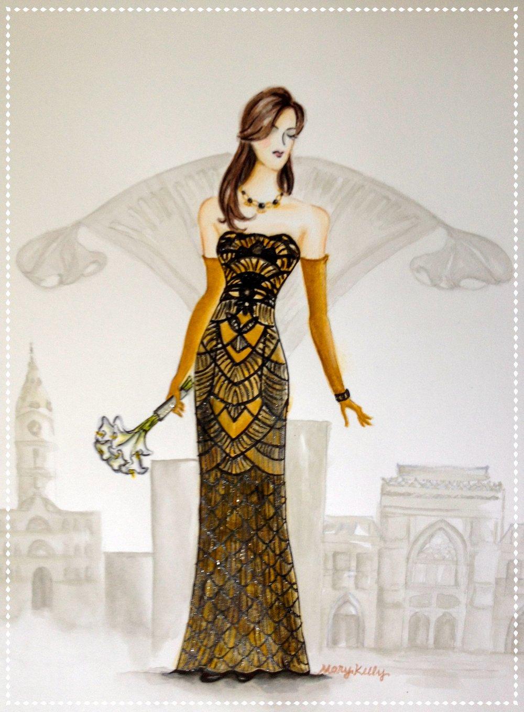 Lauren's art deco gown, © 2019 marykellydesigns