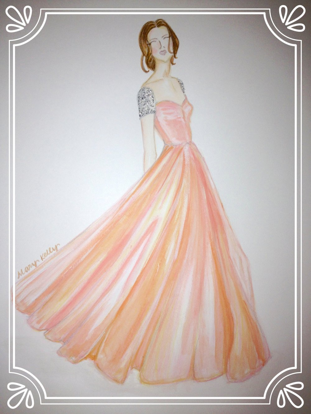 coral gown with bling sleeves, © 2019 marykellydesigns