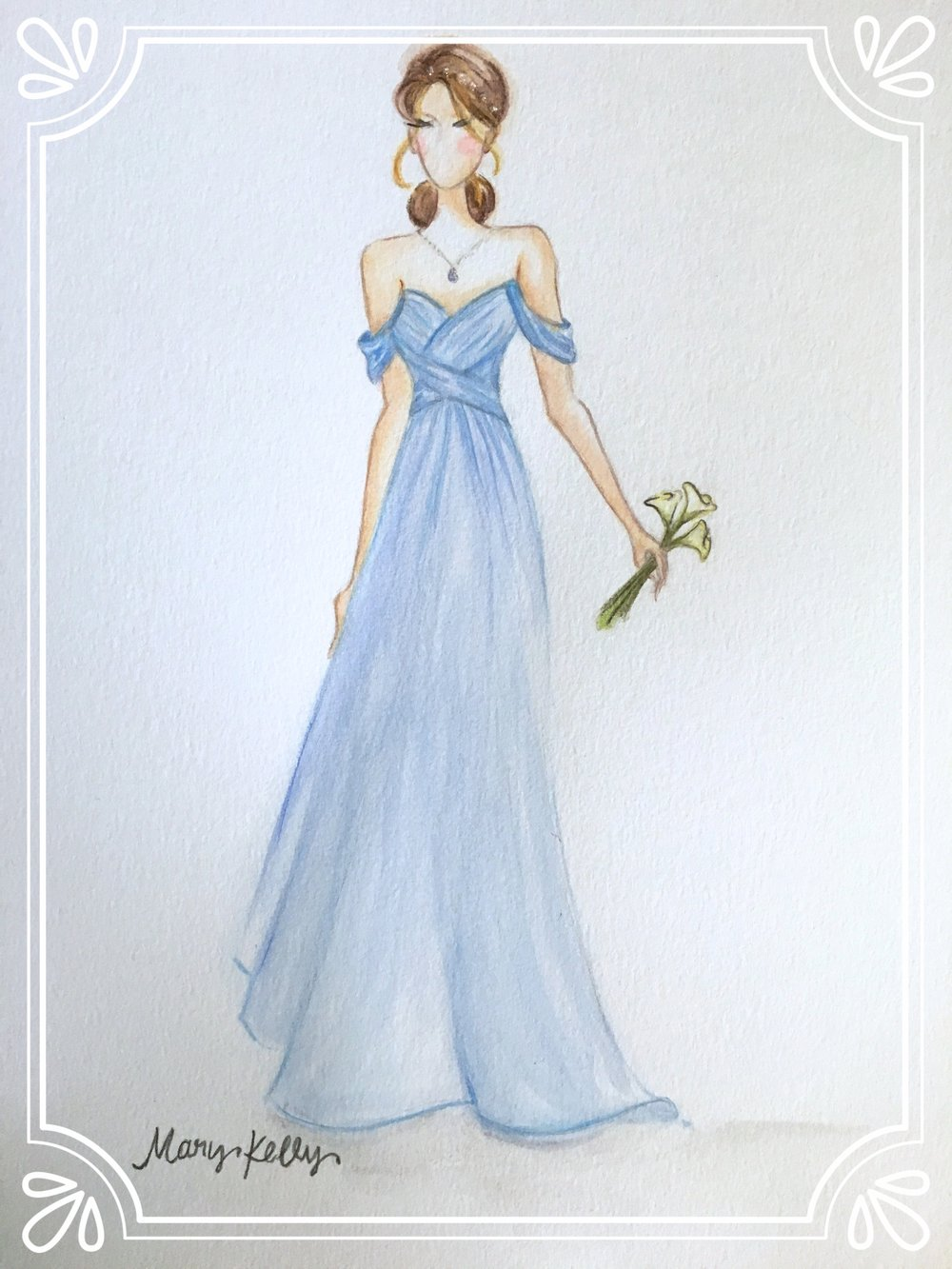 bridesmaid in blue, © 2019 marykellydesigns