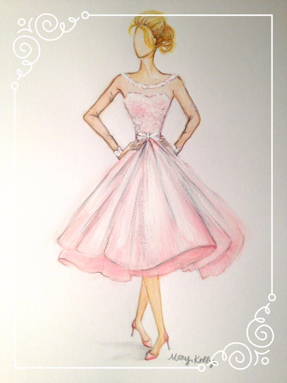 pink bridesmaid dress, © 2019 marykellydesigns