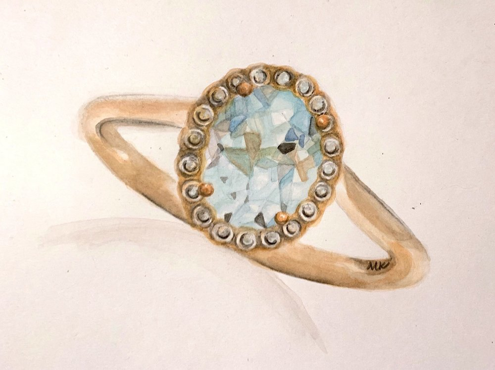 oval aquamarine ring, © 2019 marykellydesigns