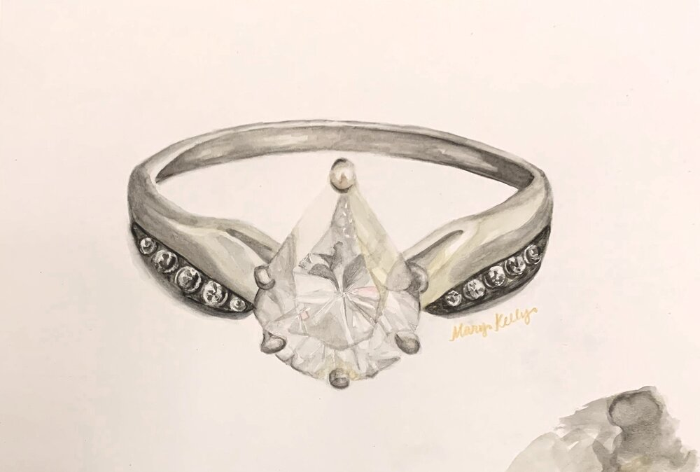 pear diamond ring, © 2019 marykellydesigns