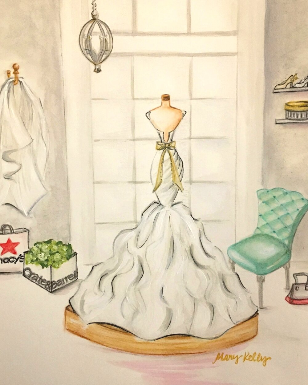 bridal gown in window, © 2019 marykellydesigns