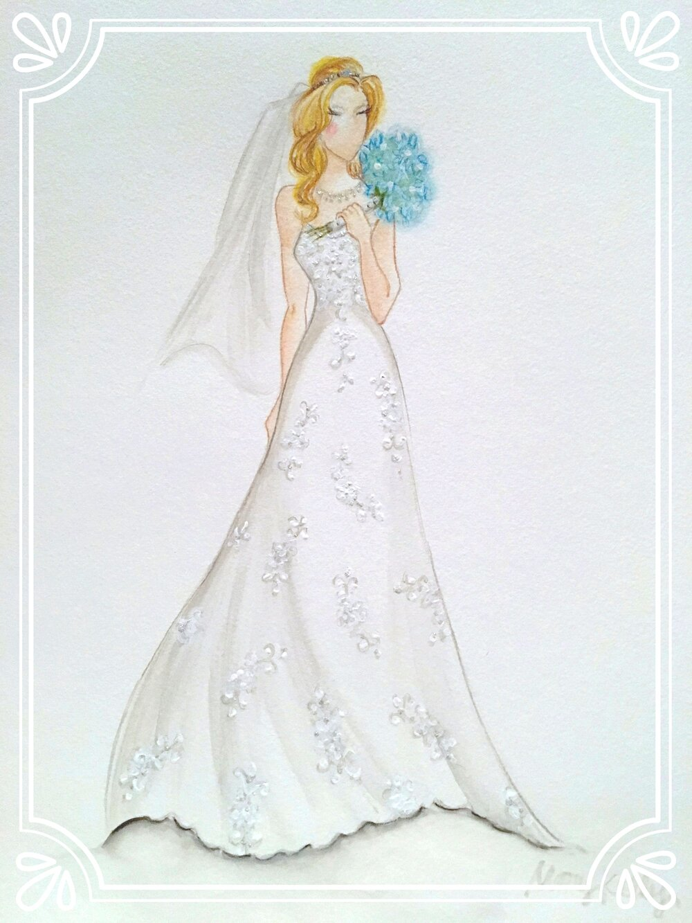 Mary's gown with hydrangea bouquet