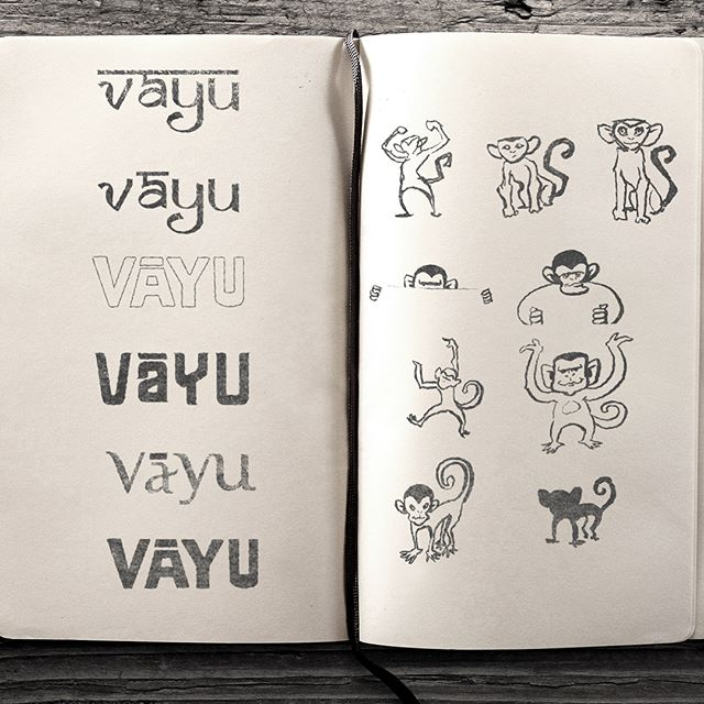 This is the original process of figuring it a logo design. We find fonts that apply to the brands identity, and then create some similar sketches for the logo icon. Together, they create a word mark with an awesome end image. #vayu #climbingbranding #branding #outdoorcompanies #logodesign #branding #coloradodesign #denverdesign #graphicdesign #illustration #brandidentity #adobecreativecloud #monkeys #rockclimbing