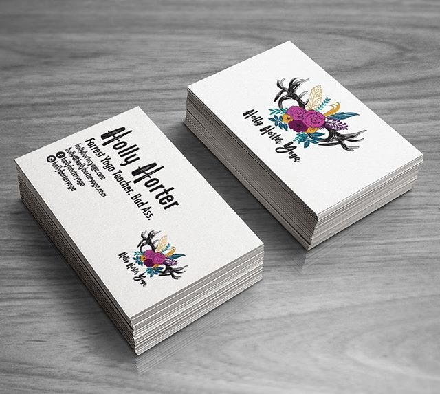 Logo and business card design for @hollyhorteryoga . Holly had a great logo idea and We were able to create a great vector version so she will be able to easily use it on marketing merchandise. #yogalogo #branding #logodesign #businesscards #graphicdesign #denverdesign #boutiquedesignstudio #treatyoself #yogaerryday #flowers #deerantler #colorsofautumn #logosdenver #denverlogos #coloradologos #cactusbear