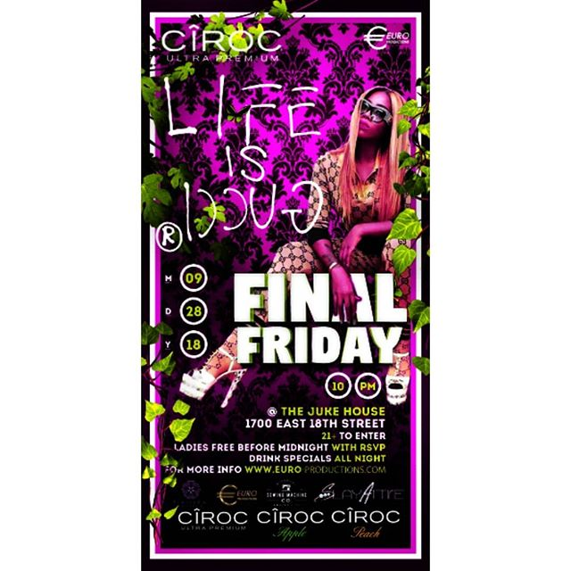 Did you RSVP for Final Fridays Sponsored by @ciroc @ciroc.apple  Complimentary admission with RSVP. Signature cocktail giveaway.  Cash prize for best dressed.  Click link to RSVP now!!!! https://www.eventbrite.com/e/final-friday-volume-iv-life-is-gucci-tickets-50244985103
