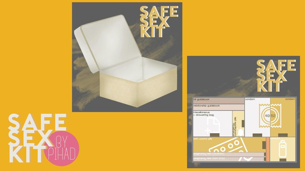 Safe Sex Kit——At home kit with many types of contraception and youth designed how-to's for all ages. The goal is increase access to contraception and educate when parents won't!