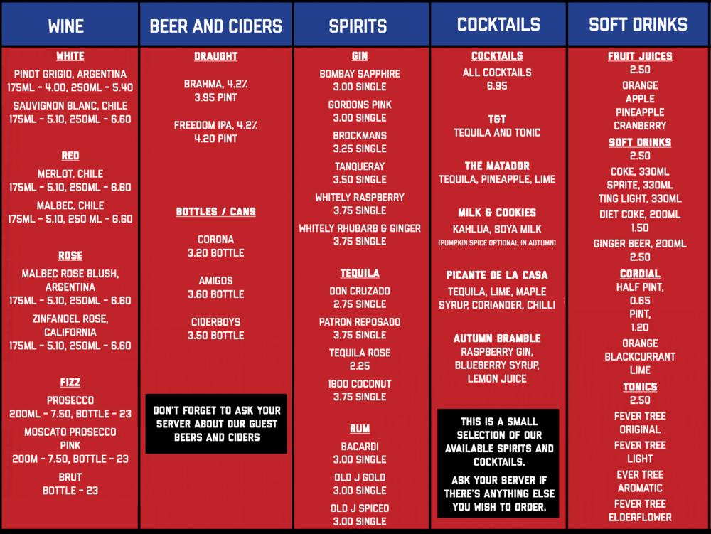 Jack Burrito - drinks menu, Chester bar