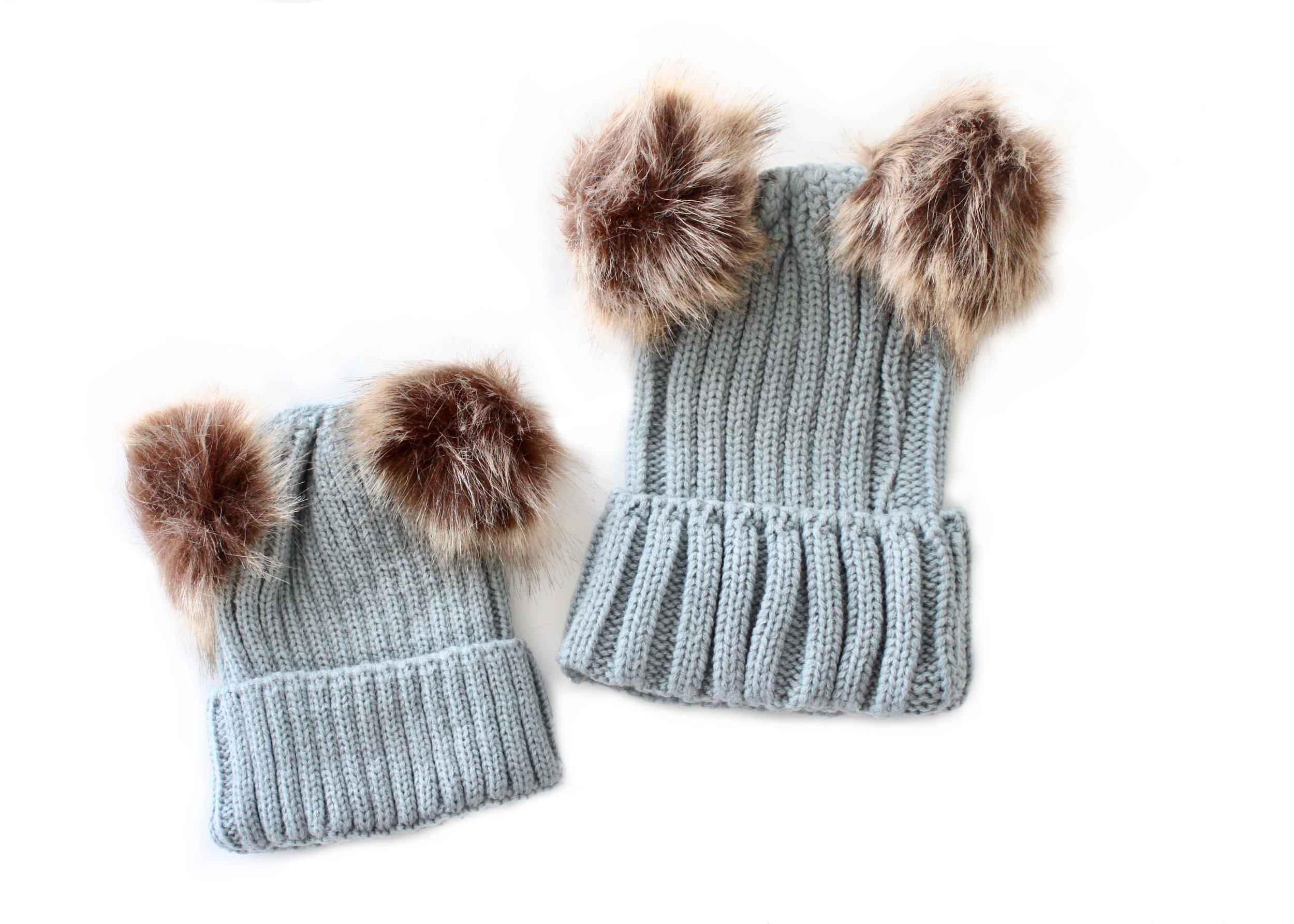 96ee4afbcb5583 Grey Double Pom Pom Matching Mother & Baby Hats