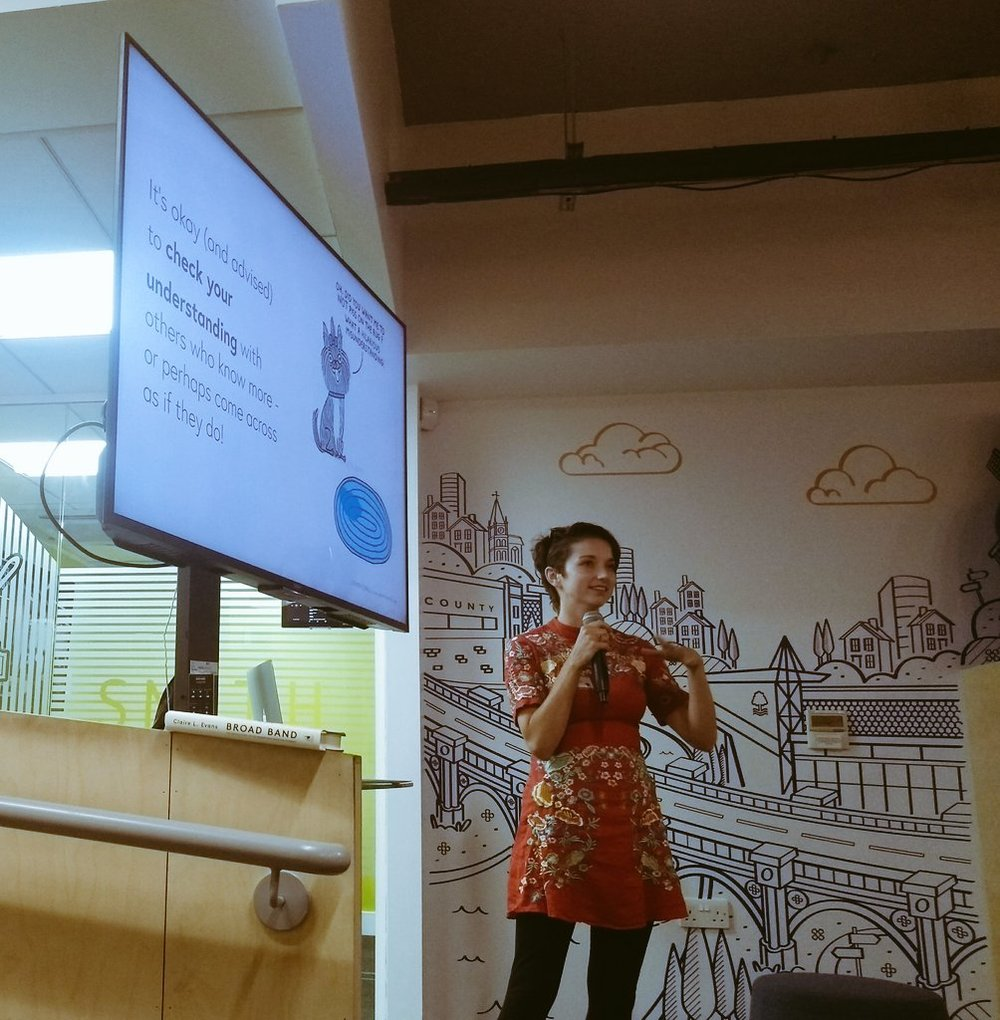 """Talk: I don't speak your language  """"Thoroughly enjoyed  @tessacooper5 's talk last night around ways to ensure groups of people understand each other & communicate effectively. Some really great takeaways. Thanks for hosting a great talk  @WIT_Notts ."""" @jesspwhite"""