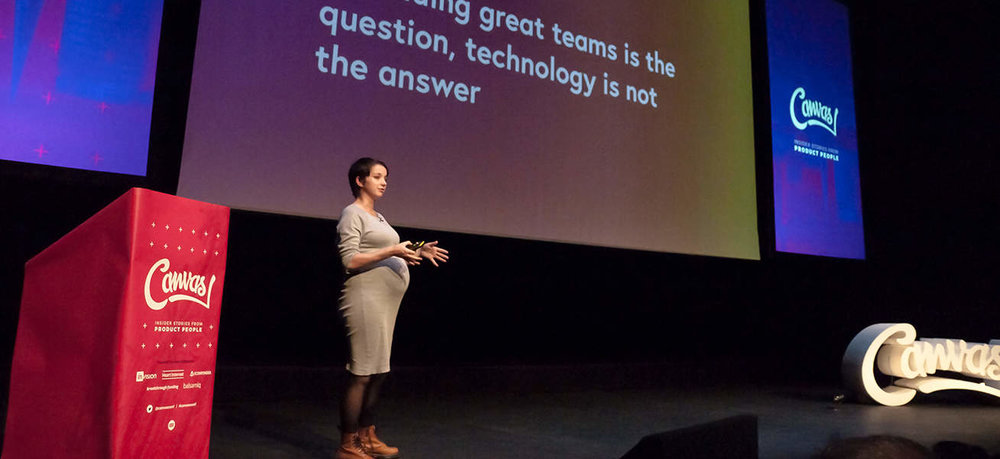 """Talk: If building a great team is the question technology is not the answer  """"Favourite quote so far  @canvasconf  from  @tessacooper5 ; Stop using tech & tools as a comfort blanket when working with your teams  #canvasconf """" - @katydunn"""