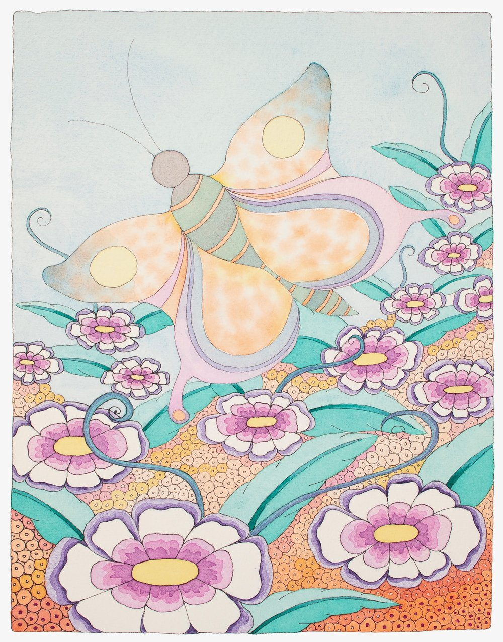 """BUTTERFLY IN THE GARDEN""    Water color Giclee...........8""X10""............$60.00    by Molly Milligan"