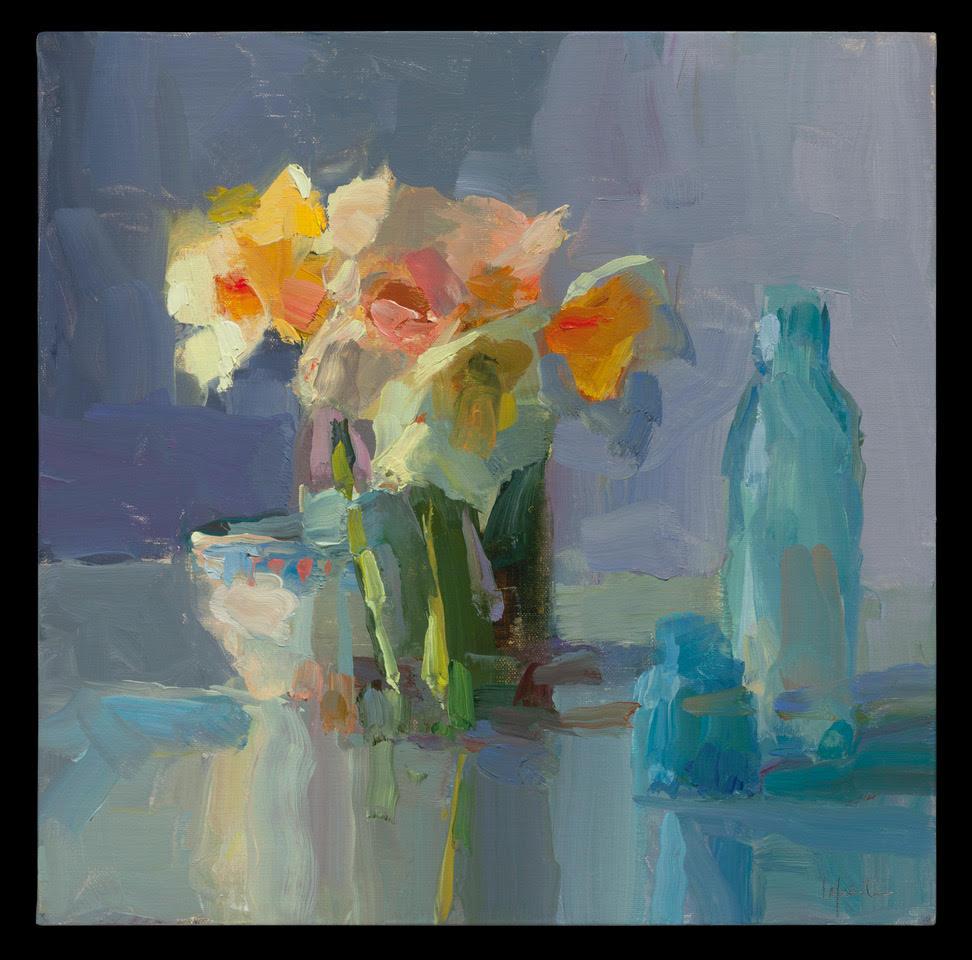 Daffodils, Teacup and Blue Bottles.jpg