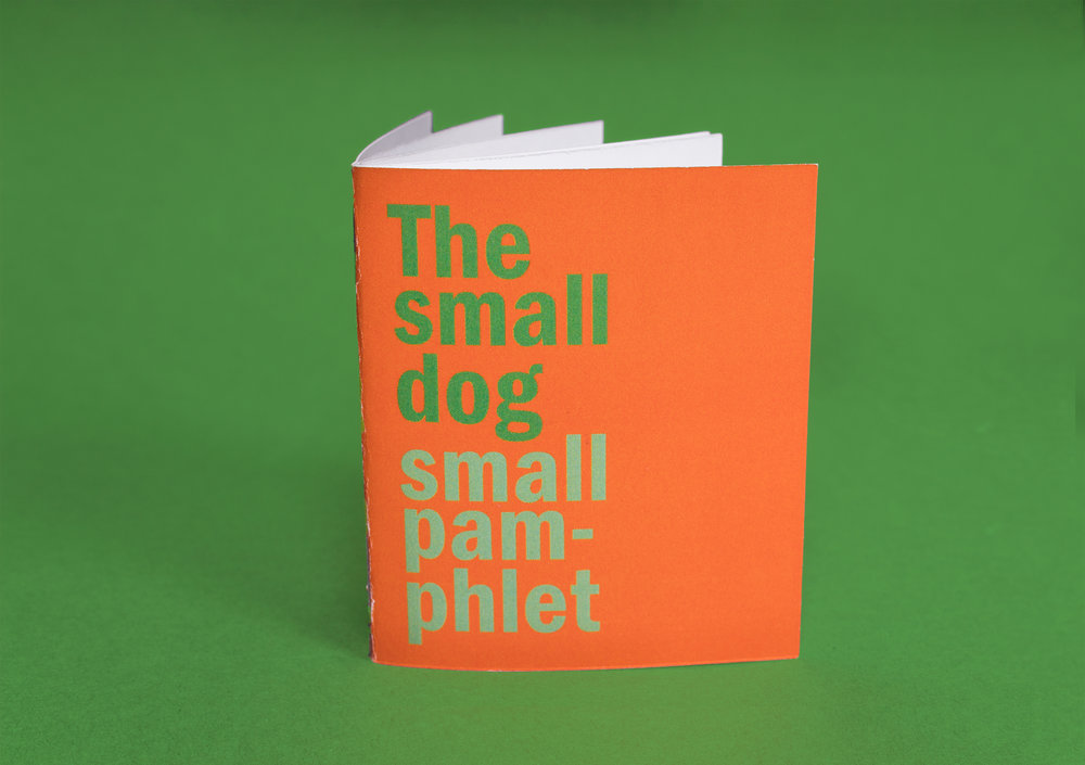 - The Small Dog Small Pamphlet serves as an instructional manual for the items included in the kit. The pamphlet design follows the clear, instructional style used the exterior of the kit, with flat illustration and a focus on type.