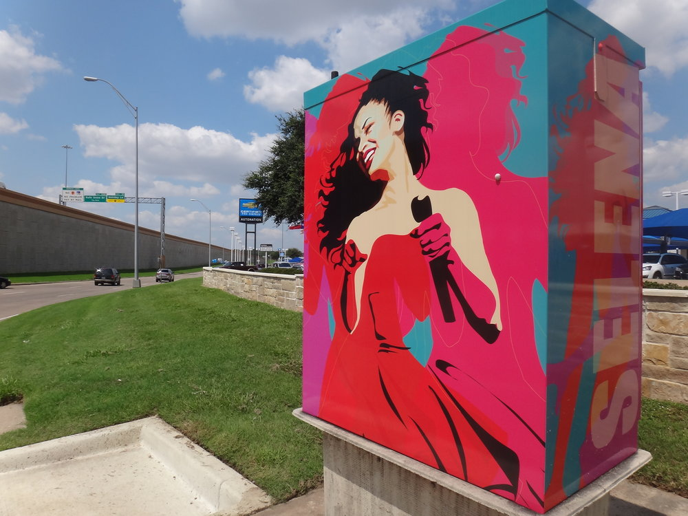 Selena Quintanilla. Located in North Richland Hills, TX. on the corner of Boulevard 26 and 820. 2017.