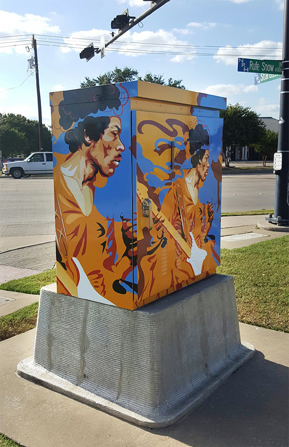 Jimmi Hendrix. Located in North Richland Hills, TX. on Rufe Snow and Stardust Drive. (2016)