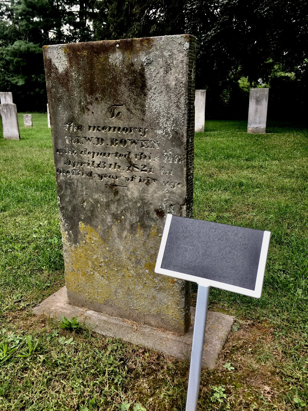 - Special plaques mark the graves of the veterans of the War or 1812.