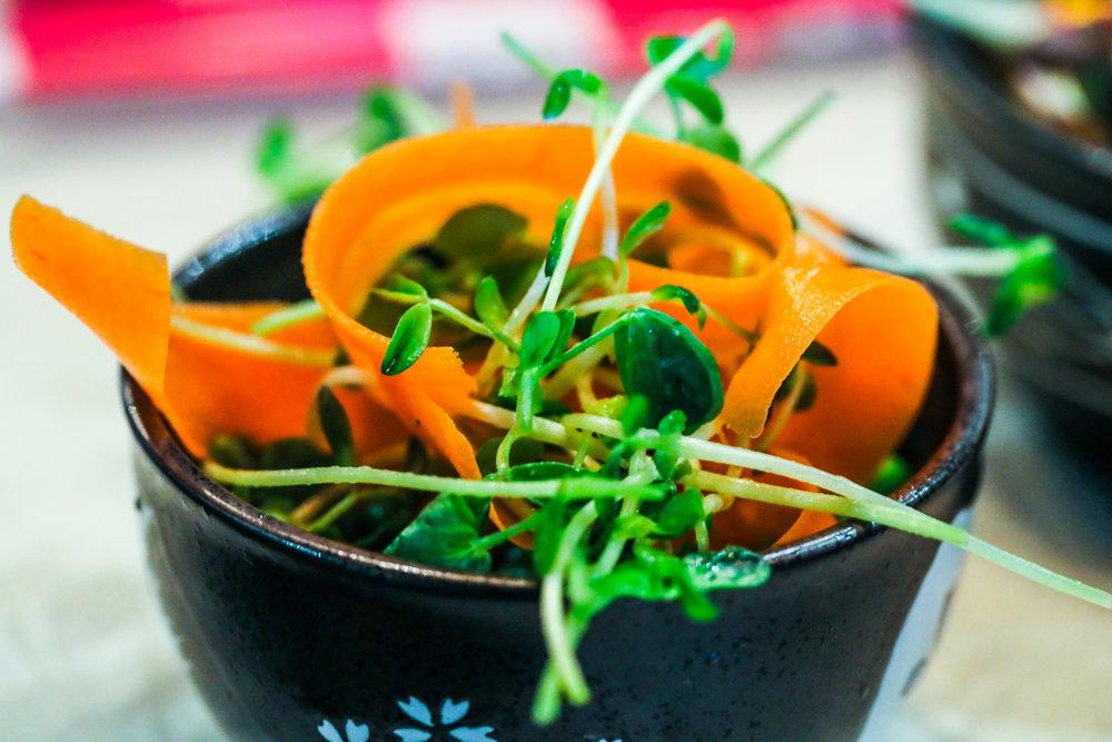 Heirloom Carrots & Pea Shoots