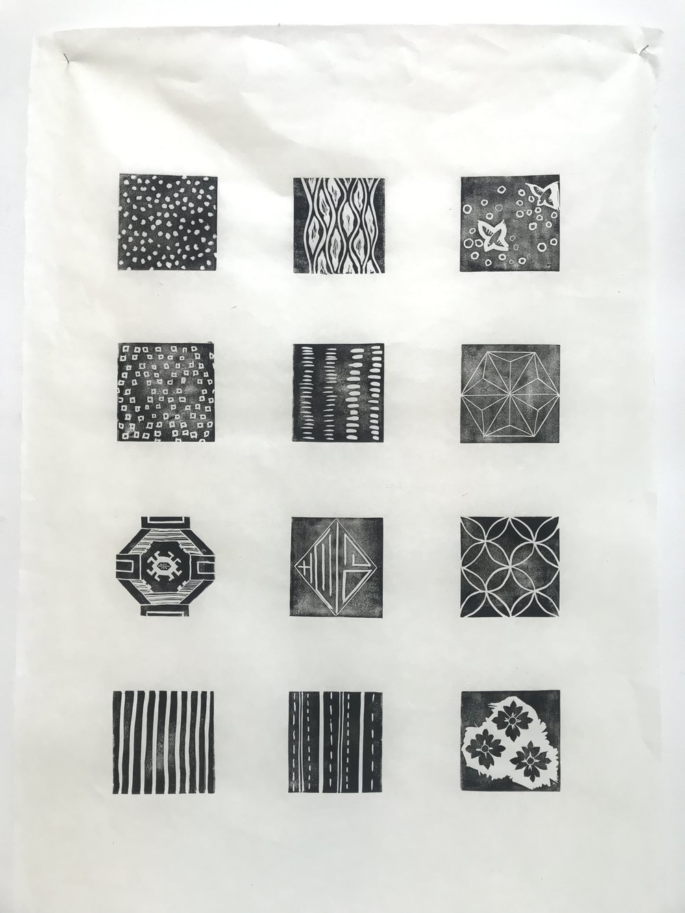 The original pattern elements are hand stamped on kinwashi paper