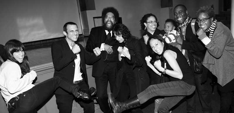 Fisticuffs! - The book launch of 'Pro+agonist' at Cooper Union (2014) irrupts in fisticuffs. Brawlers and featured speakers (left to right): Jill Magid, Urtzi Grau, Cornel West, Cristina Goberna Pesudo, Keith and Mendi Obadike (and kiddo), Marisa Morán Jahn, Mabel O. Wilson. Conspicuously absent: Carl DiSalvo, Anjum Asharia, Saskia Bos, McKenzie Wark.