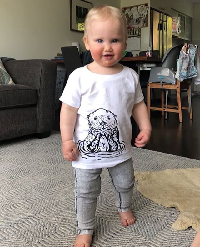 "Sophia wearing 2T ""Oli the Otter"""