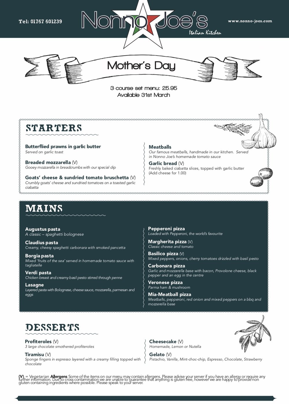 Our Mothers day set menu. OPEN FROM MIDDAY TIL 11PM - TO BOOK CALL 01767 601239. Or fill out a booking request here on our website.