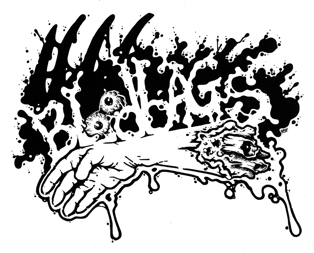 bloodbags Noise Garage Scuzz Rock Horror Gore T-Shirts by Rob Fletcher