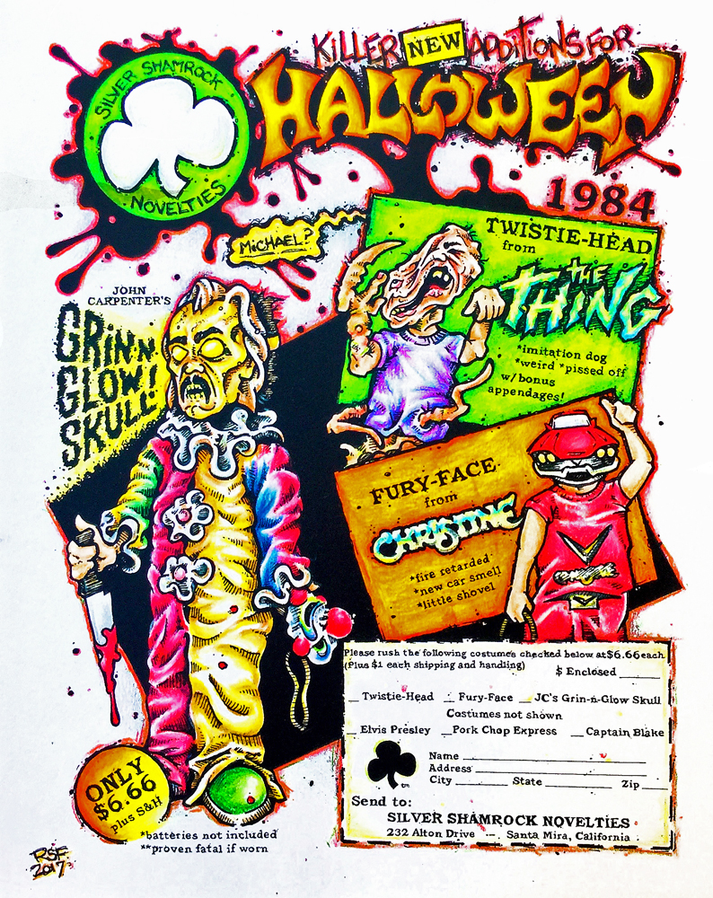 john carpenter halloween horror thing stephen king christine silvershamrock artshow austin ad by Rob Fletcher 2017