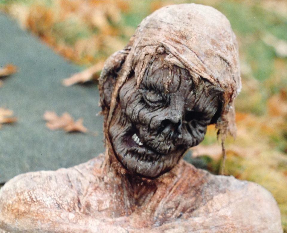 Mummy prop head by Rob Fletcher latex mask prop horror gore