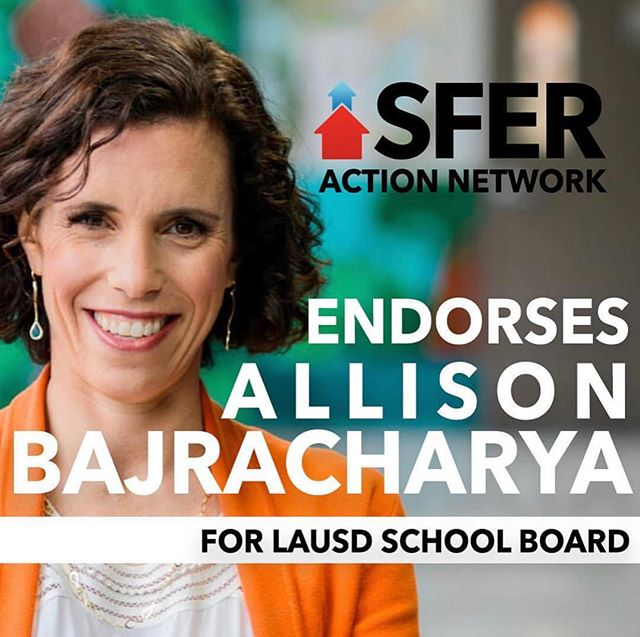 SO excited to announce that I have been endorsed by SFER Action Network - LA!  From SFER: After an extensive search by student leaders in LA, SFER Action Network - Los Angeles has endorsed education justice champion Allison Bajracharya for LAUSD school board!  Bajracharya has a proven track record of success as a long time educator at Camino Nuevo -- a school that's predominantly students of color and English language learners -- where a projected 9/10 students will be accepted into college by 2022.  She's fighting to bring excellence, equity and innovation to every school in LAUSD, and that's a fight we can get down with 💯 Stay tuned for all the latest in Allison for LAUSD School Board's race!