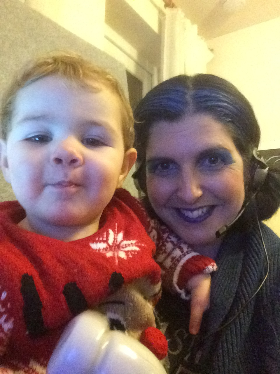 "Erika Sanderson and Aiden. ""On Skype call, back from the theatre playing the Blue Fairy in panto during the big snow - Grandad had got snowed in so took both children with me. The theatre staff were amazing, one entertained Aidan while I was onstage and my elder daughter was in the audience."""
