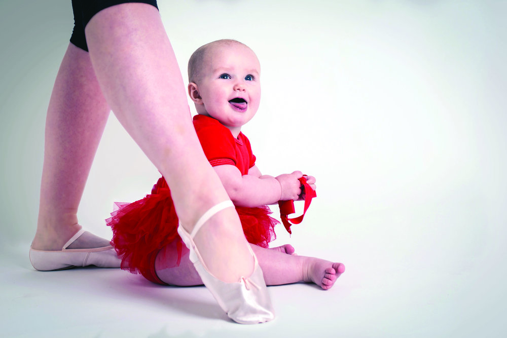 "Lise and daughter Scarlett. ""This fun image was used as a publicity image for my touring dance solo Baby Plus Two, made with Bricolage Dance UK, of which i'm a co-director."" Image: Chantal Guevara"