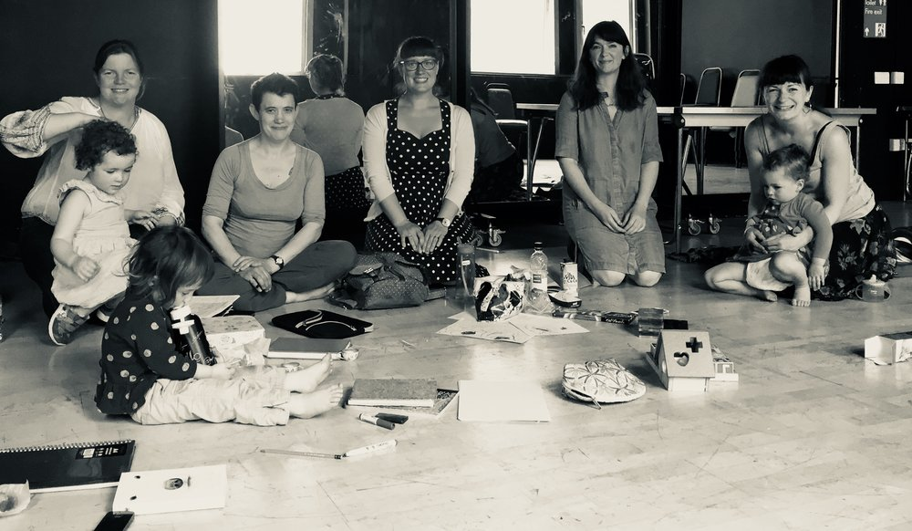 Commissioned Artists meeting at Clean Break London: (from left to right) Artists Miriam, Matilda, Delea, Rachael, Gemma