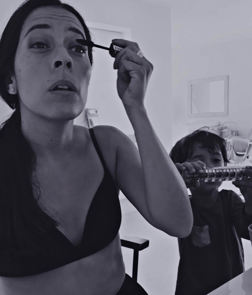 "Actress Jimena Larraguivel with son Luken Brown. ""He's become my number one assistant/supporter whenever I have an audition; he knows what step goes next in the whole 'getting ready' ordeal. Here he's helping me put on my make up. We are always together and working together but sadly we don't have many more photos of that. In fact, this photo is a selfie I took a few days ago when I had a casting. A couple of years ago when I had to learn this Shakespearean Sonnet in Spanish for a job and I was stressing out about learning it with my then poorly and clingy baby. Then suddenly I had an idea, took my iPhone and started to film bits of my day and somehow the Sonnet worked perfect with the images and that really motivated me to learn it. I know you're only looking for photos but I thought I'd share anyway."" Watch it  here ."