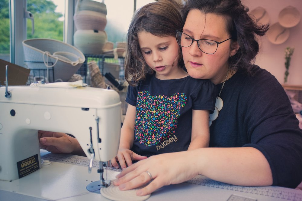 Jess Geach with daughter - sewing. Image: Viola Depcik