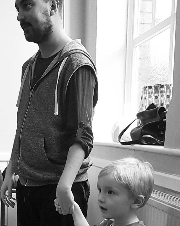 Matt with Anna's son during a rehearsal