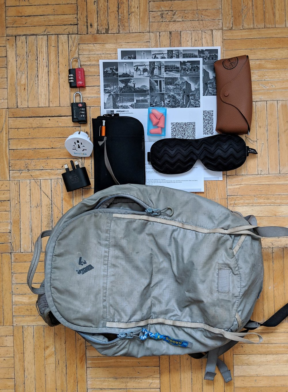 Small backpack. - I carry all my essentials in a small daypack. Here, I have packed my partner and I's Jordan passes, my sunglasses, passport, 2 small locks, plug converts, and earplugs and an eyemask.