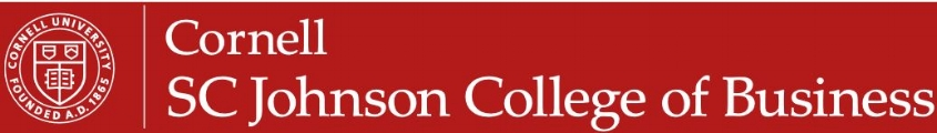 Cornell University SC Johnson College of Business MBA