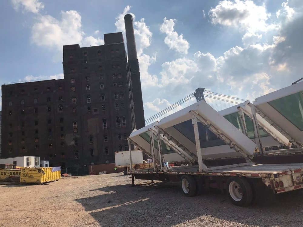 3-D printed windows arriving at the Domino Sugar Refinery project site. Photo via  Gate Precast.